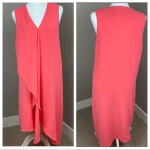 ADRIANNA PAPELL PINK CORAL ASYMMETRICAL TIER DRESS